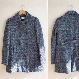 NWT Zara Herringbone Wool Blend Pea Coat